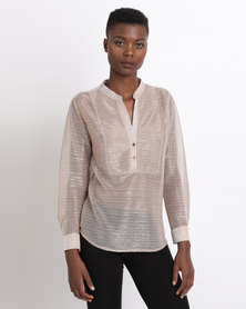 Game of Threads Crinkle Glitter Blouse Rose Gold