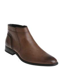 Gino Paoli Formal Slip On Zip Up Ankle Boot Tan