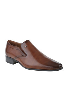 Gino Paoli Formal Perforated Slip On Shoe Tan