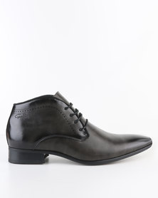 Gino Paoli Formal Perforated Lace Up Ankle Boot Graphite