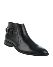 Gino Paoli Formal Slip On Boot With Side Buckle Black