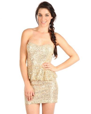 Glamorous Peplum Dress Gold