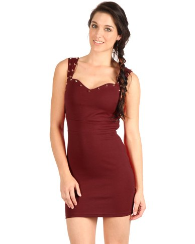 Glamorous Embellished Bodycon Dress Red