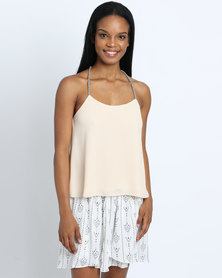 Goldie Swing Beige Crepe Top With Chord Black/White