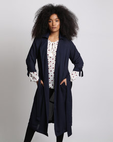 Goldie Tear It Down Chiffon Trench Coat Navy