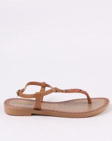 Grendha Ladies Casual Ankle Strap Brown