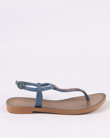 Grendha Ladies Casual Ankle Strap Blue