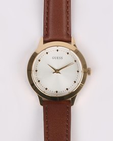 Guess Camden Strap Watch Gold-tone With Brown