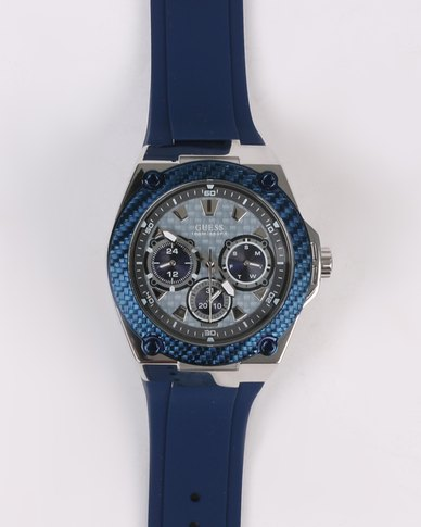 Guess Legacy Silicone Strap Watch Silver-tone/Blue