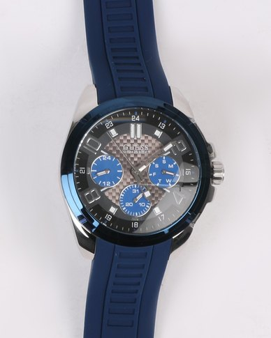 Guess Scope Silicone Strap Watch SIlver-tone/Blue