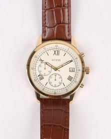Guess Summit Strap Watch Gold With Brown