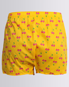 Happy Socks Cherry Boxer Yellow