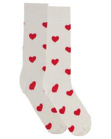 Happy Socks Heart Socks White
