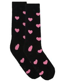 Happy Socks Heart Socks Black