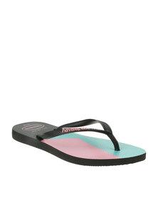 Havaianas Slim Block Colours Flip Flop Black