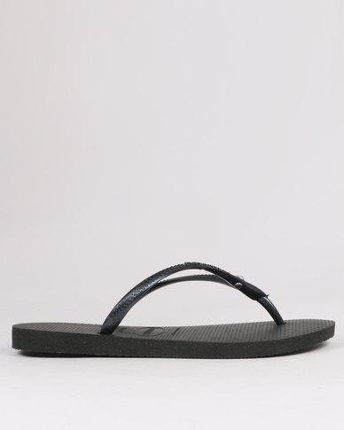 Havaianas Slim Crystal Glamour Flip Flops Black