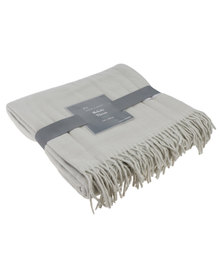 Haven and Earth Melody Plain Throw Oyster Grey