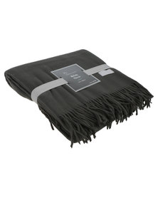 Haven and Earth Melody Plain Throw Steel Grey