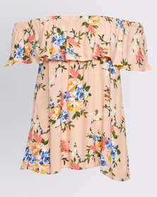 Hip Shop Off Shoulder Frill Top Floral Coral