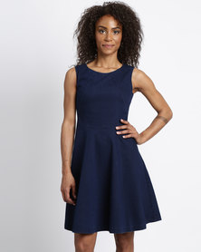 Holly Blue Panel Detail Stretch Dress Ink Washed