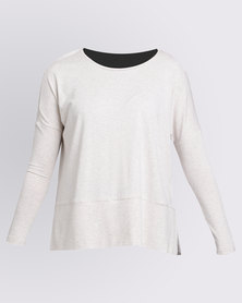 Holly Blue Tunic Knit Top Solid Bone