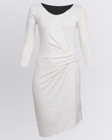 Holly Blue Asymmetrical Dress Solid Bone