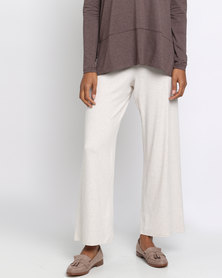 Holly Blue Wrap Overknit Pants Bone Solid
