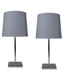Illumina Double Pack Bedside Lamp With Chrome Square Base Grey
