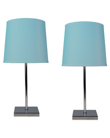 Illumina Double Pack Bedside Lamp With Chrome Square Base Blue