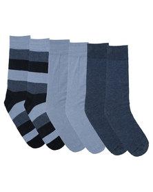 JCrew 3 Pack Denim Friendly Stripe Socks Blue