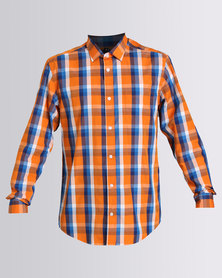 JCrew Overcheck Long Sleeve Shirt Blue And Orange