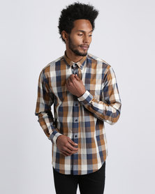 JCrew Choc & Navy Multi Check Long Sleeve Shirt