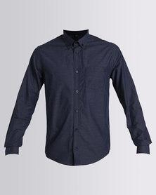 JCrew Fine Stripe Long Sleeve Shirt Navy