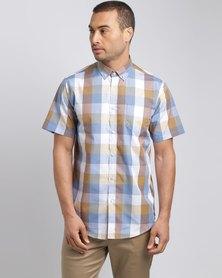 JCrew Multi Check Short Sleeve Shirt Mustard