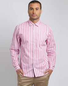 JCrew Stripe Long Sleeve Shirt Pink & White