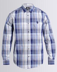 JCrew Check Long Sleeve Shirt Blue & Beige