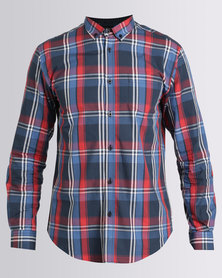 JCrew Check Long Sleeve Shirt Blue & Red