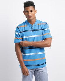 JCrew Multi Stripe Short Sleeve Knit Shirt Blue/Gold