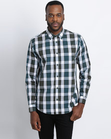 JCrew Check Long Sleeve Shirt Green And White