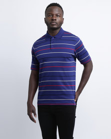 JCrew Multi Stripe Mercerised Golfer Cobalt