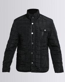 JCrew Quilted Pleather Trim Jacket Black