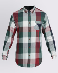 JCrew Check Long Sleeve Shirt Green & Burgundy