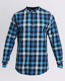 JCrew Multi Check Long Sleeve Shirt Blue