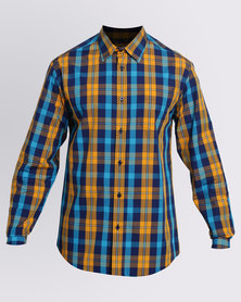JCrew Check Long Sleeve Shirt Mustard & Navy