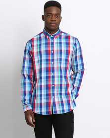 JCrew Check Long Sleeve Shirt Blue and Red