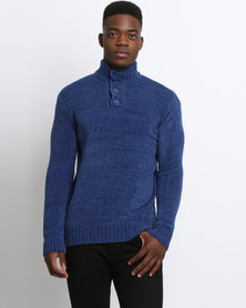 JCrew Button Front Chenille Blue