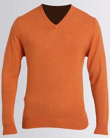 JCrew Cashmellon V Neck Jersey Orange