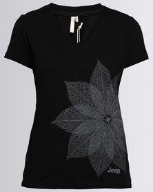 Jeep Short Sleeve Printed V-Neck T-Shirt Black
