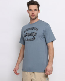 Jeep Applique Embroidery T-Shirt Blue
