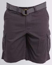 Jeep 28cm Inleg Belted Shorts Grey
